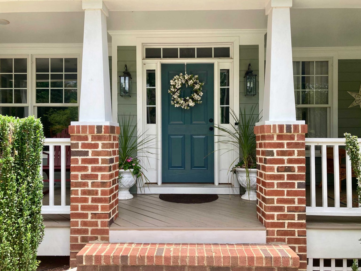 Exterior Paint Job in Cary - painted door and porch